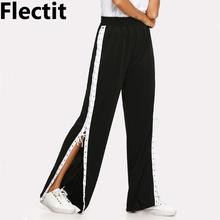 Flectit Loose Fit Contrast Stripe Trim Lace Up at Side Track Pants For Women Wide Leg