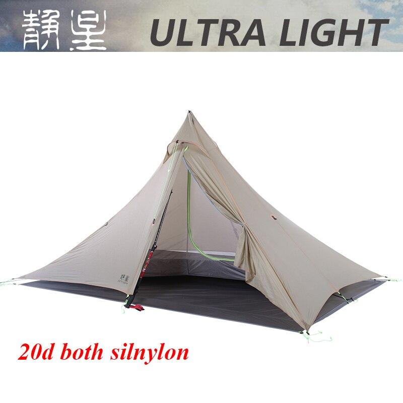 2019 both side 20D silnylon ultralight ASTA pyramid outdoor 1 or 2 person 2 layer 3