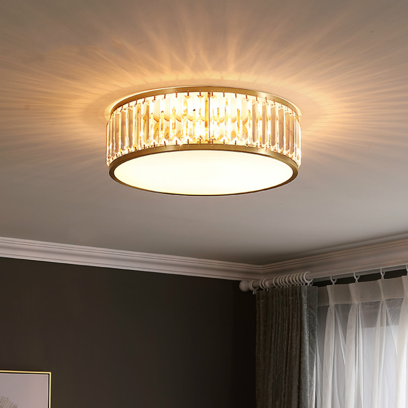 US $207.93 13% OFF|Dressing room Round Crystal ceiling light fixtures  office led Circular crystal lamp for Bedroom ceiling Lamp surface led  Avize-in ...