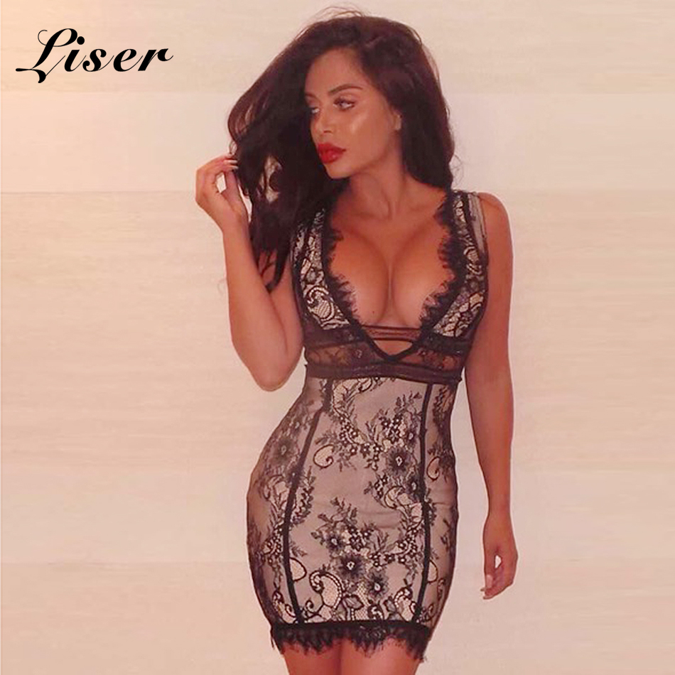 Liser 2018 New Summer Women Dress V Neck Lace Bandage Dress Sexy Bodycon Elegant Celebrity Party Black Dresses Vestido Wholesale