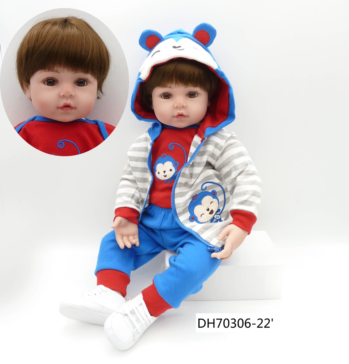 24 inch Soft Lifelike Silicone Vinyl Reborn Baby Boy Doll Equipped With Small Monkey Suit Classic Small White Shoes Set Toy