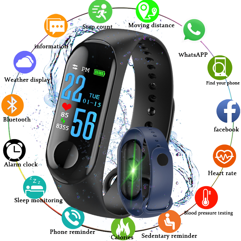 Sports Fitness Smart Watch Bracelet Blood Pressure Pedometer Alarm Heart Rate Monitor Reminder Color Screen Waterproof Wristband