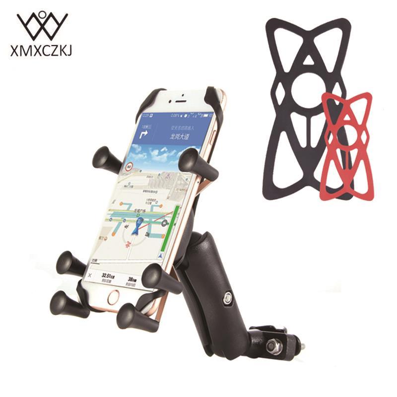 XMXCZKJ Hållare Telefon Justerbar Cykel Cykel Motorcykel Styrfästehållare För Iphone Huawei XIAOMI GPS Smartphones Hållare