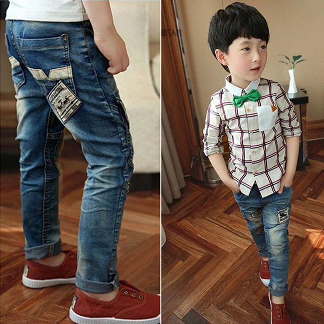Children Jeans Boys Jeans, Kids Fashion Denim Jeans ,kids ripped jeans , Kids  Spring Autumn Long Pants.