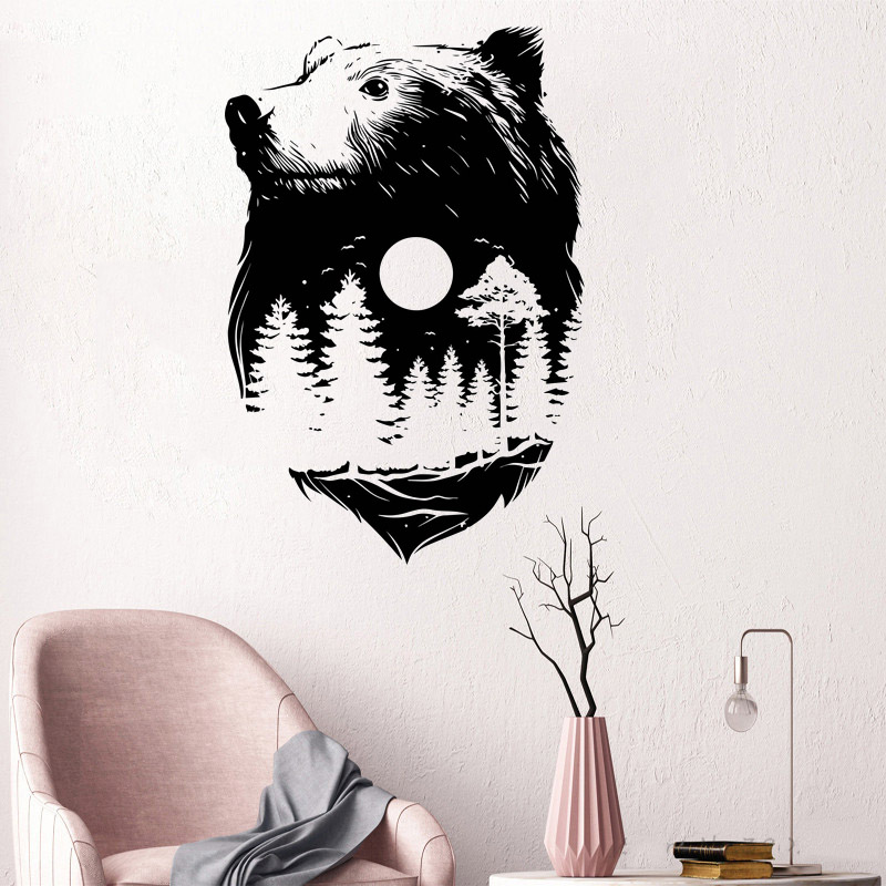 Forest Bear Nature Spirit Wall Sticker Indian Culture Style Room Decoration Fashion Poster Mural Modern Home Decor Decals W142
