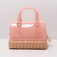 22x17CM 2017 New Handbag Summer Handmade Bamboo Basket Knitting Lock Jelly Candy Color PVC And Rattan