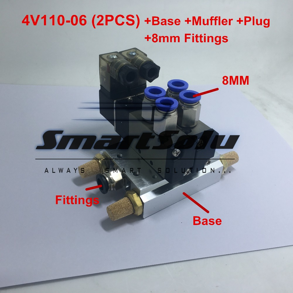 Free shipping 4V110-06 2 Positions Twin Solenoid Valve Mufflers Connected 6MM 8MM Quick Fittings Base Set 1 8 inch airtac 4v110 06 5 way triple solenoid valve connected mufflers base 6mm 8mm quick fittings set dc 12v 24v ac 110v 220v