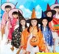 2016 hot Boy Girl Niños de Disfraces Vestido de Bruja Capote del Mago Estrellas Casquillo de Lujo de Cosplay del traje y Sombrero para Niños Niños Niñas