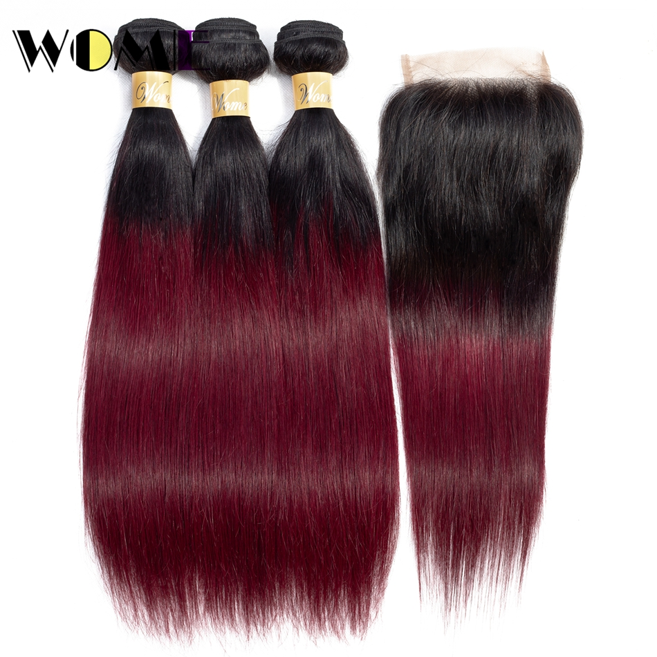 Wome Hair Brazilian Ombre Hair Bundles with Closure 1b/99J Straight Weave Human Hair 3 Bundles with 4X4 Lace Closure Non-remy