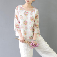 2017 Women Summer Top Vintage Rose Print Three Quarter Sleeve Double Layer Plus Size T Shirt