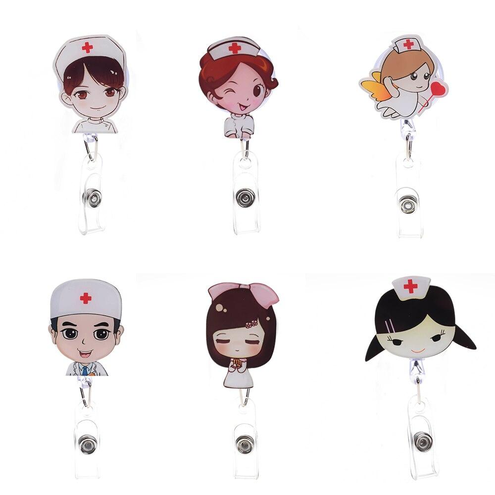 1Pc Cute Cartoon Mini Retractable Badge Reel Student Nurse Exihibiton Pull Key ID Name Card Lanyards Badge Holder Clip