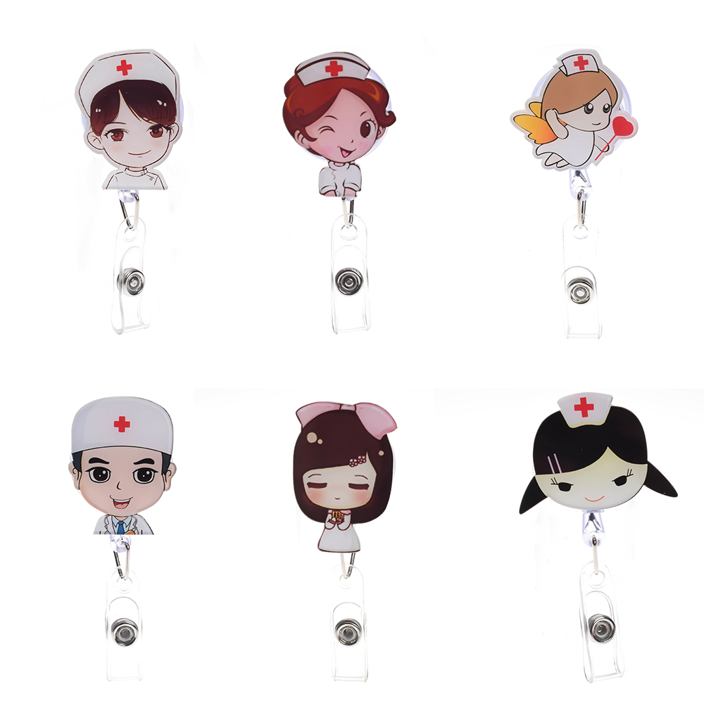 Cute Cartoon Mini Retractable Badge Reel Nurse Lanyards ID Name Card Badge Holder Clip Student Nurse Badge Holder CliP Storage