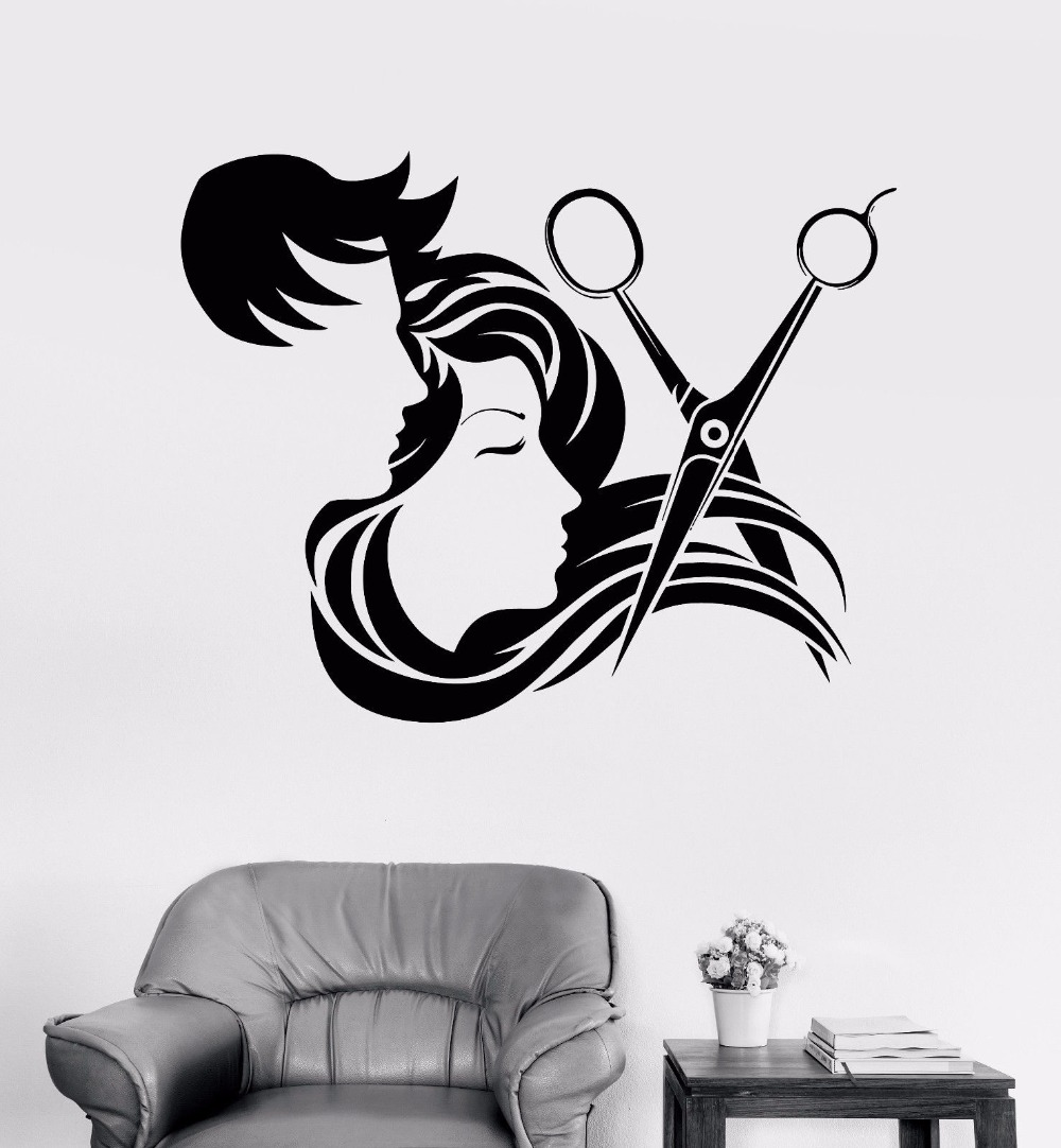 Man and Girl Long Hair Scissors Tools Art Decal Wall ...