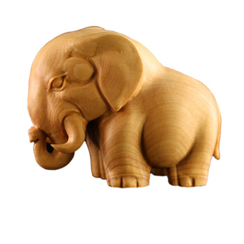 Decorative Arts Handmade Carved Poplar Wood Elephant