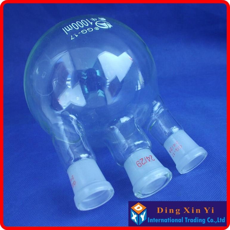 (2 pieces/lot)1000ml 24/29 three-necked round-bottom flask,Flask round bottom with three necks,short neck standard ground mouth все цены