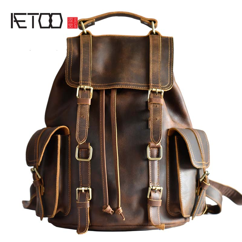 AETOO Original design leather hand bag Europe and the United States trend retro male Baotou crazy horse leather leisure backpack aetoo pure leather europe and the united states japan and south korea fashion retro bag leather leather casual daily travel back