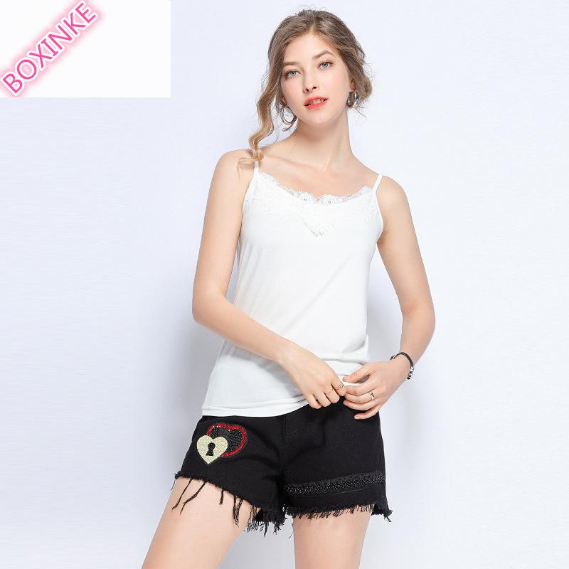 2019 Promotion Camis Oodji Tank Top Large size Women 39 s Wear Fat Mm Suspender Vest New Style Sexy V neck Lace Stitching Jacket in Camis from Women 39 s Clothing