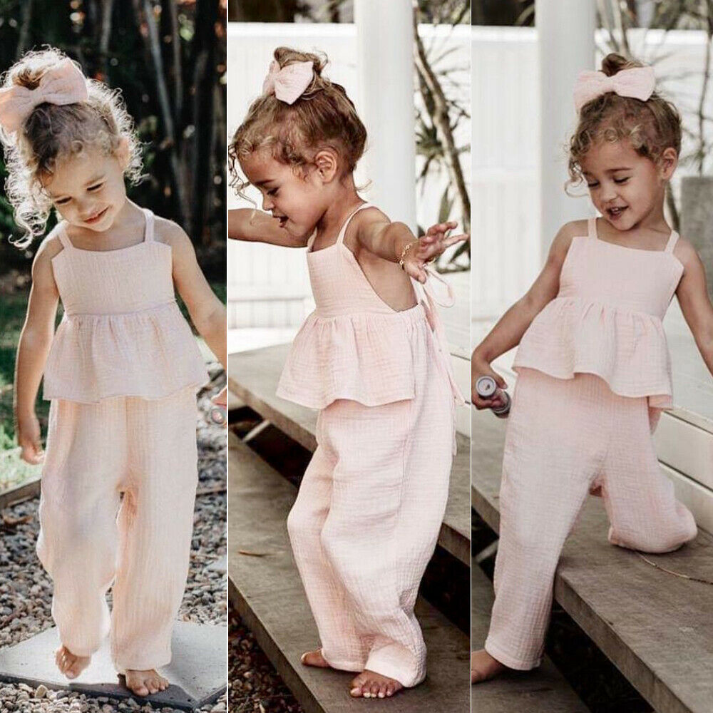 Toddler Baby Girl Clothes Summer Ruffle Bandaged Romper Long Pants Jumpsuits Solid Backless Outfit Suit Kid Girls Sunsuit