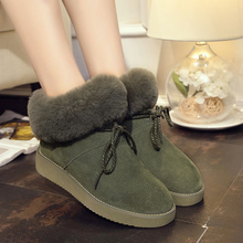 Women winter fashion solid snow boots female ankle boots with fur warm boot woman casual shoes botas femininas zapatos mujer