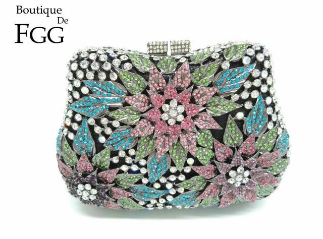 Ladies Appliques Hard Case Multi Crystal Evening Purse Bridal Party Clutch Bag Diamond Metal Clutches Bag Women Wedding Handbag