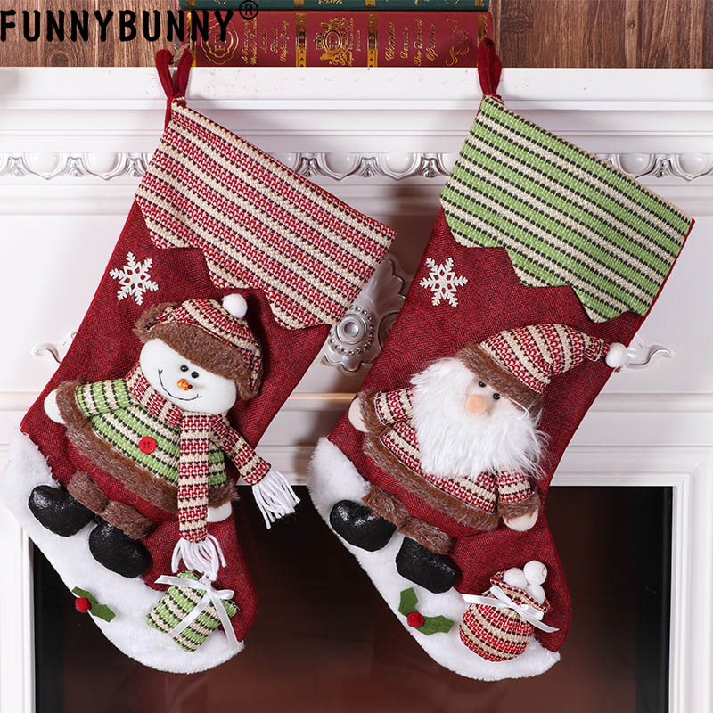 FUNNYBUNNY Christmas Stocking Festive Holiday Decoration Snowman Reindeer Santa Ornaments Classic Style