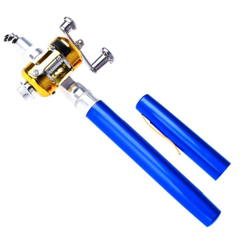 1pc Mini Portable Fishing Rod Aluminum Alloy Telescopic Pocket Pen - Fishing
