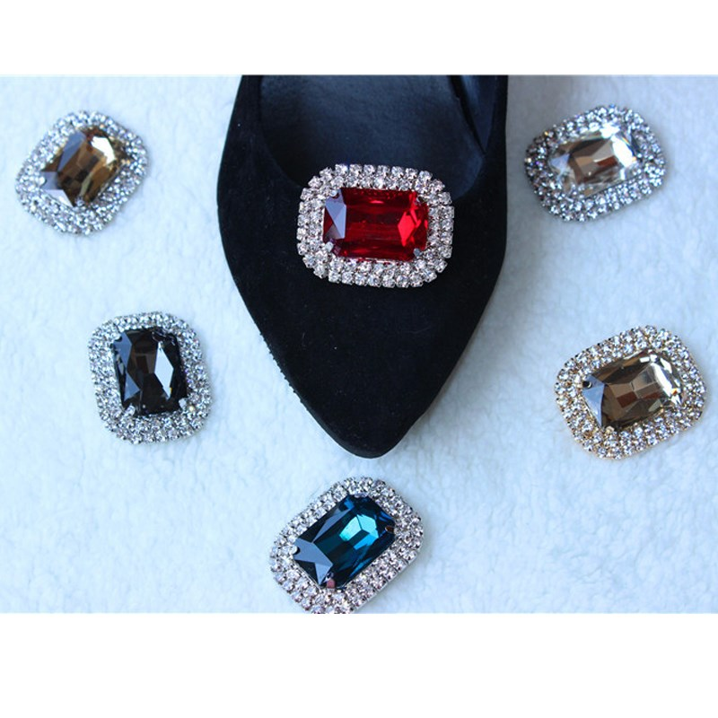 1pcs metal rhinestone alloy glass shoes decoration buckle for Decoration clips