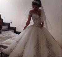 Vestido De Novias Beautiful New Model Lace Wedding Dress 2017 Custom Made With Long Train Bridal