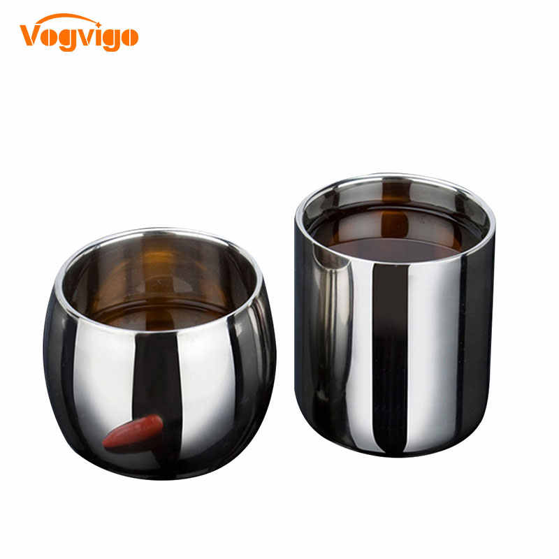 VOGVIOG 2017 Hot Selling Stainless Steel Double-layer Anti-hot Hollow Coffee Cup Mug Double Layer Scald-proof Drinkware