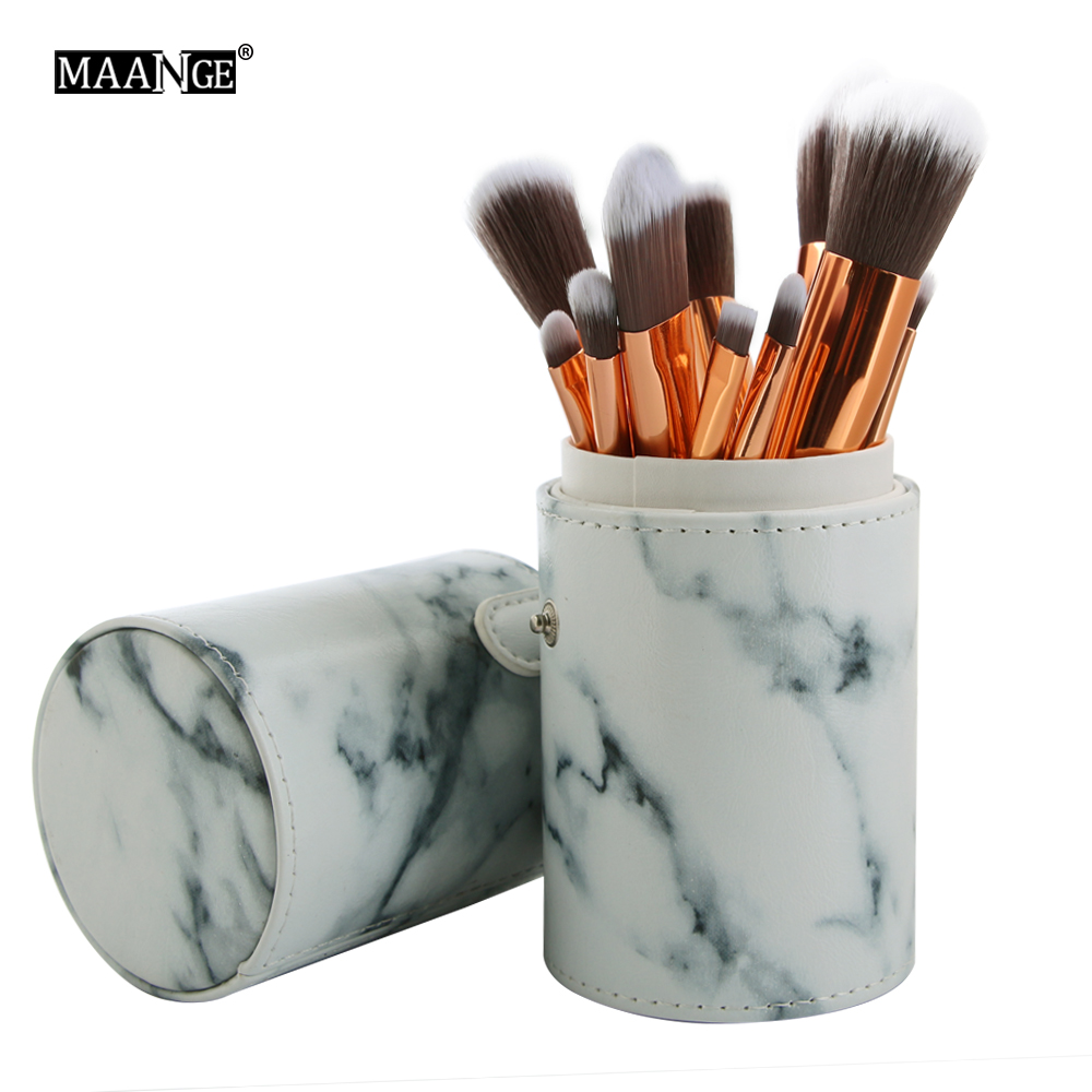 10 PCS Marble Pattern Makeup Brushes Plastic Handle Synthetic Hair Vegan Make Up Brush with PU Cylinder Tube Holder/Marble Bag