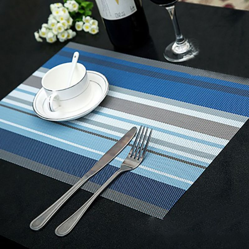 4pcslot cup mats coaster pad heat resistant pvc kitchen dinning stripe table placemats for table mat - Kitchen Table Mats