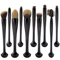10pcs Set Shell Makeup Brushes Cosmetic Foundation Eyeshadow Eyebrow Powder Contour Concealer Lip Blending Cosmetic Brush