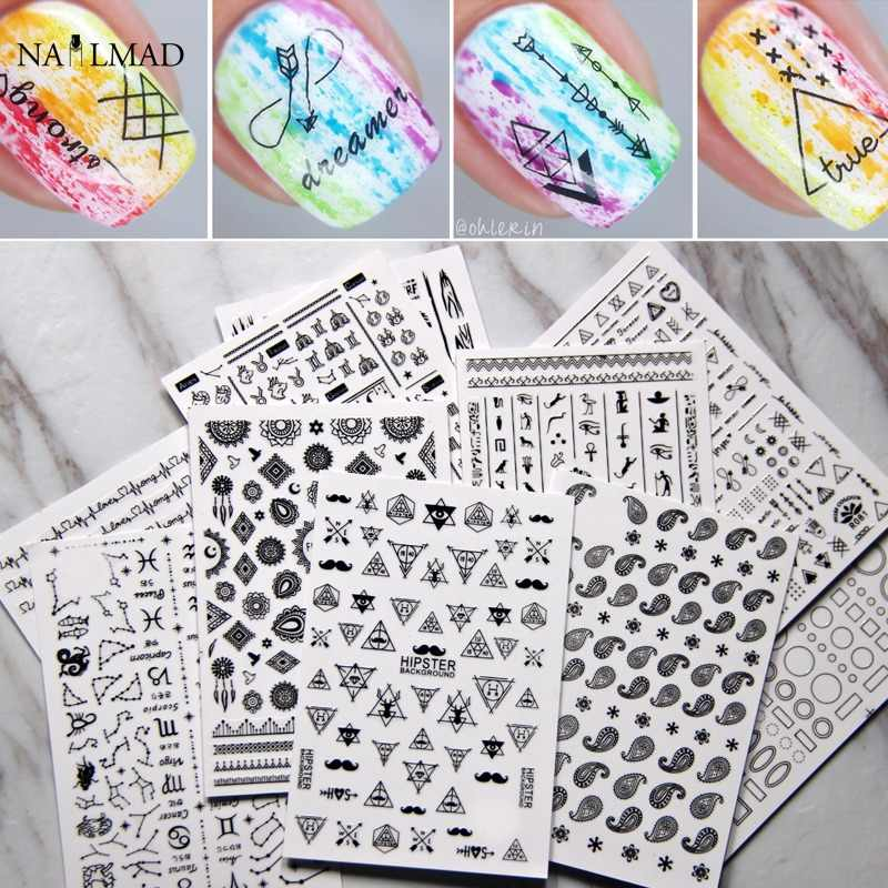 12sheets NailMAD Geometric Triangle Nail Sticker Decals Paisley Lace Nail 3D Stickers