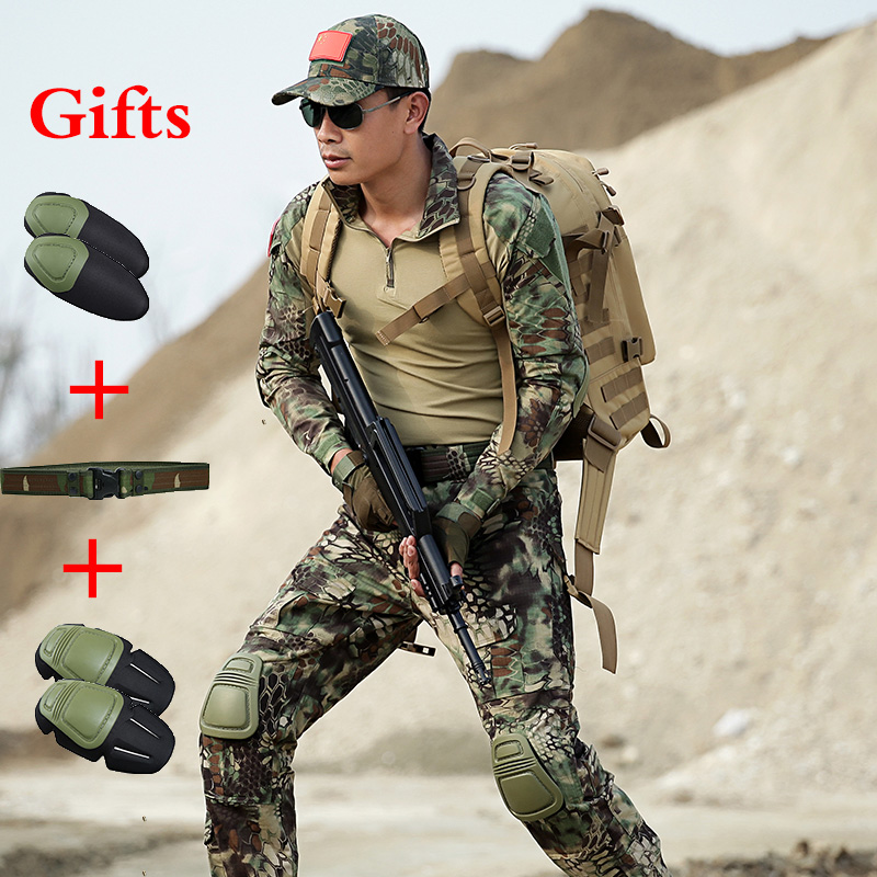 Mens Ghillie Combat Shirt Tactical Cargo Pants With Knee Pads Hunting Camouflage Men Army Uniforms Military Hiking Training Suit combat shirt hunting clothing army multicam pants with knee pads multicam uniforms ghillie tactical hiking clothes for women
