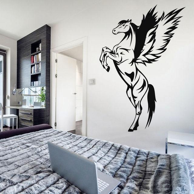 removable pegasus wall sticker vinyl bedroom home decor animal horse