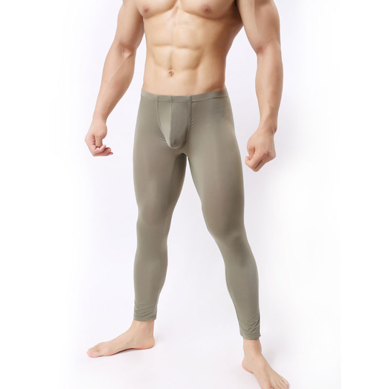 1PCs Sexy Men  U Pouch Legging Ice Silk Transparent Capris Sexy Tight Pocket Pajama Breathable Trousers FX1018