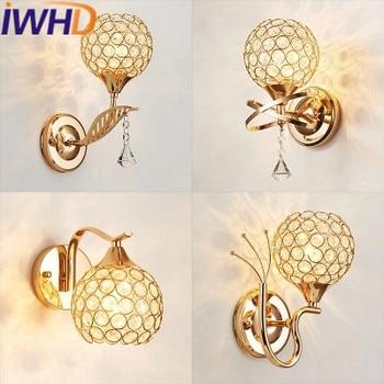 IWHD LED פמוט קיר מנורת קיר בדולח אופנה גופי תאורת בית מדרגות סלון Luminaire Arandelas Para פארדה