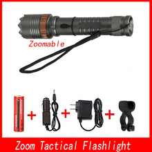 4000lm High Power XML T6 Zoom Led Tactical Flashlight Rechargeable Torch Lantern Hunting Flashlight AAA/18650 Battery Charger ultrafire led flashlight xml t6 lantern tactical flashlight 5 mode waterproof torch 18650 battery