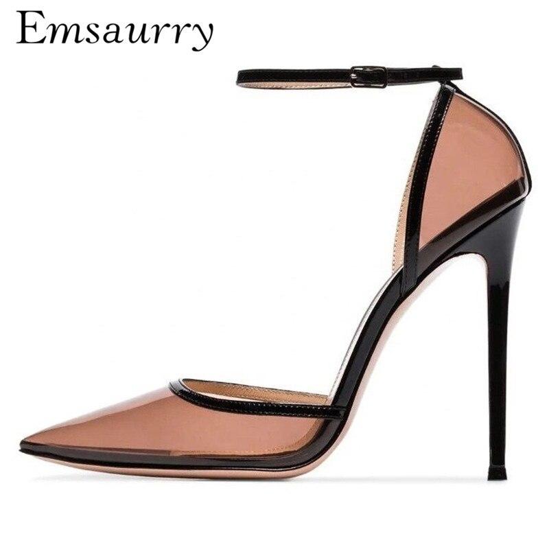 Europäischen Stil PVC Transparent Sandalen Frauen 10 cm Dünne High Heel Ankle Strap Spitz Side Cut Out Gemischt Farbe alias-in Hohe Absätze aus Schuhe bei  Gruppe 1
