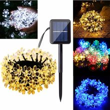 Solar Powered Led Sakura Cherry Flower Outdoor LED Fairy Lights for Festival Christmas Halloween Party Wedding Decoration(China)