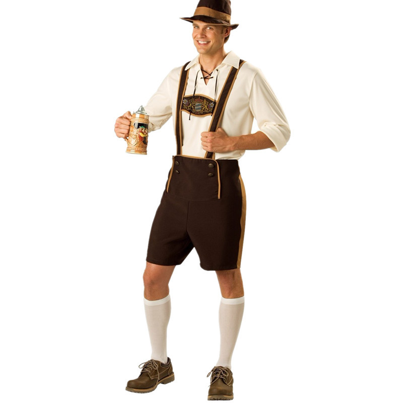 Adult Mens Oktoberfest Suspender Lederhosen Beer Carnival Party Bar Wait Outfit Costume
