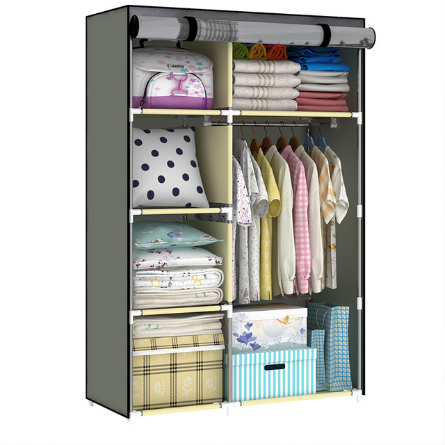 Superior Large Space Organize Clothing Closet Simple Non Woven Assembled Wardrobe 3D  Painting Household Dust Proof