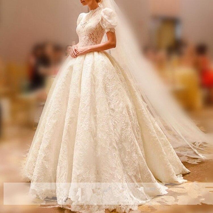 Palace Puff Sleeve High Neck Ball Gown Wedding Dress