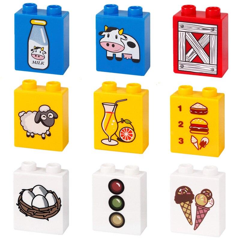 Big Duploe Cow Milk Traffic Light Juice Bricks Building Blocks Parts Toys For Children Creative Bricks Compatible L Brand