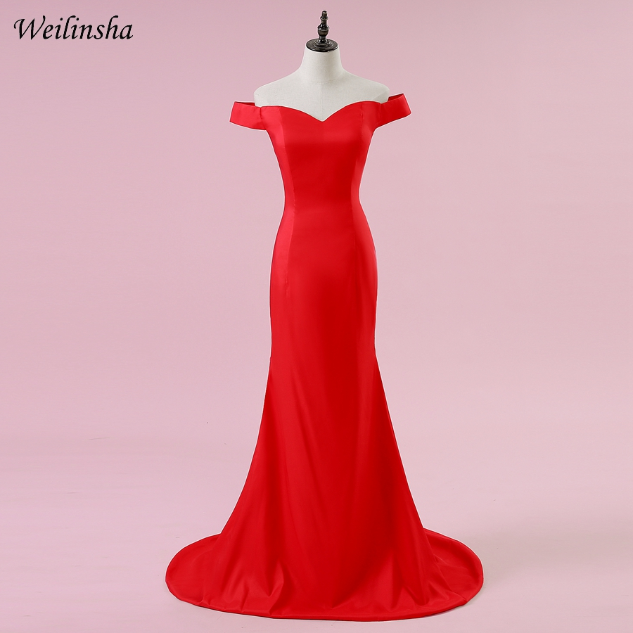 Weilinsha Long Mermaid Evening Dress Off The Shoulder Sleeveless Sweep Train Evening Gowns Robes De Soiree Custom Plus Size