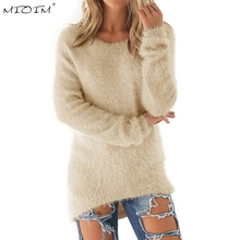 MIOIM Autumn Winter Fleece Warm Sweaters Women Long Sleeve Solid Jumper Pullover Tops Female Bottoming Blouse Shirts Plus Size