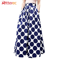 2017 Womens Fashion Polka Dot Skirt women Print Pockets Long Skirt Blue For Ladies Midi Skirt