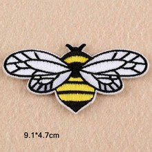Bee Animal Punk Iron On Patch Clothes Patch For Clothing Boys Embroidered Embroidery Patch Garment Apparel Accessories