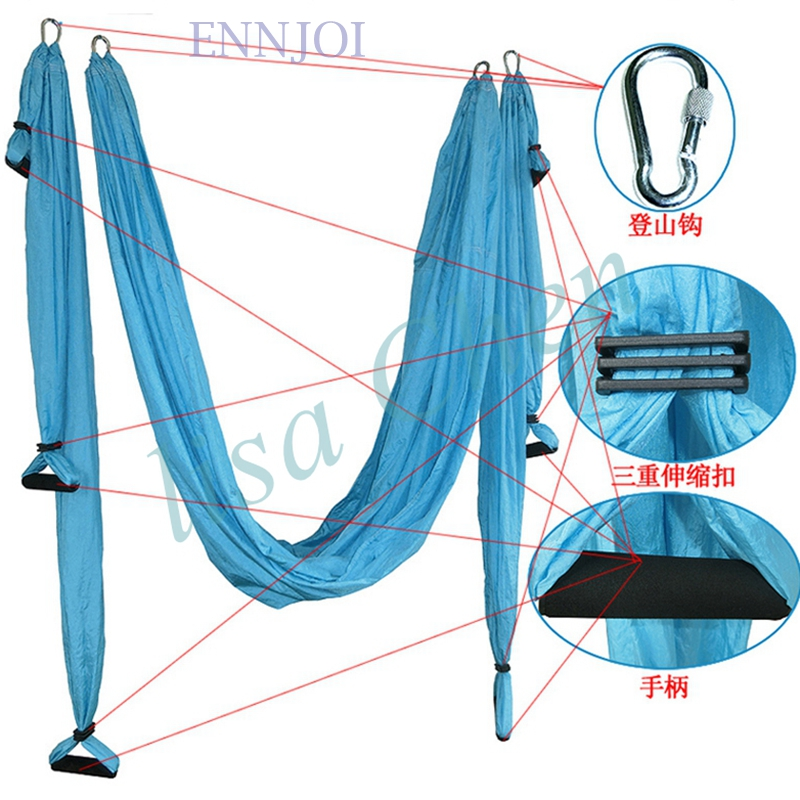 2.5m*1.5m bearing 500kg Elastic Exercise Yoga hammock Aerial swing anti-gravity Yoga belt Inversion Trapeze hanging gym traction aerial anti gravity yoga belt w elastic orange