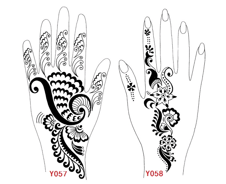 Free shipping 10 pcs Indian traditional henna tattoo template ...